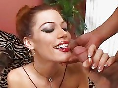 Dirty ass redhead Roxetta takes a double dicking up both hot holes