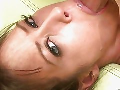 Big breasted brunette gags on hard throbbing rod