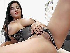 Slutty brunette teacher shows her sexy black lingerie
