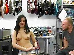 Brunette sucks on cock for cash as the camera rolls
