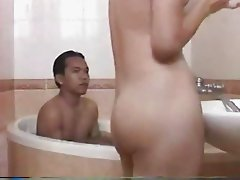 vietnamese cutie with a lovely bush in bathtub with bf