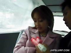 Japanese cutie gets body toyed in car