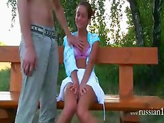 german teen couple fucking on a bench
