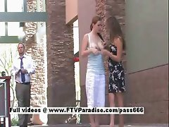 Emily and Danielle tender horny lesbians in public