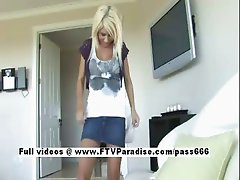 Tess easy going teenage blonde girl playing