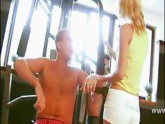 blondie babe at gym gangbanged hard