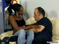 Delicious black teen girl gets on top and fucks her white man really hard