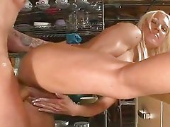 Cum thirsty Ashley Chambers opens her mouth for a hot load of cock juice