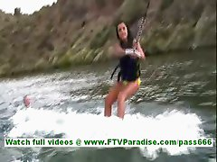 Annalisa beautiful burnette with long hair waterboarding and falling down