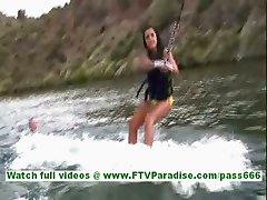 Annalisa beautiful burnette with long hair waterboarding and falling down