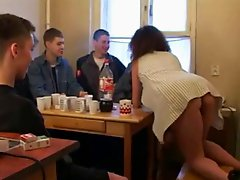 russian milf stripping and fucking 6 boys!!!