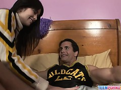 Long darkhaired teenie cheerleader Ashlyn Rae sucks her