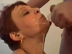 Mature Christine gets a real sloppy mouthfuck