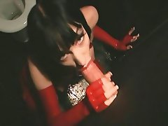 Masturbation and gloryhole blowjob