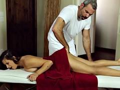 Fuckable brunette slut sucks and fucks an old masseur