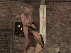 Chained naked and blindfolded Kimi loves sucking a big cock