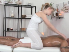 Beautiful european masseuse tugging a cock