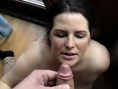Wanking that chubby till it pops right on mature ho's face