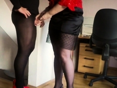Pantyhosed mature guy in high heels receives a nice handjob