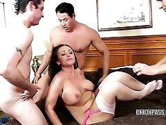 Curvy coed Chloe Reece Ryder is fucking five guys