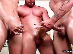 Handjobs and masturbating in gay threesome