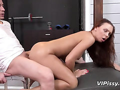 Ginger-Haired Gets SOPPING In Urinate By Her Intimate Trainer