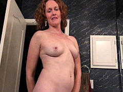 Sultry amateur wife stripteases and fingers her juicy cunt