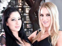 Lusty hottie Candice Dare invited her gf for a hardcore FFM action