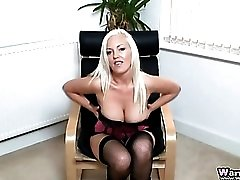 Satin corset on a dirty talking blonde beauty