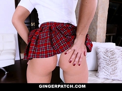 GingerPatch - Freshly Shaved Teen Gets Showered In Cum