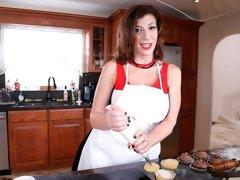 Sara Jay enjoys her chocolate cream pie