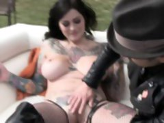 Tattooed sluts showing big tits in bts video