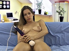 Naked girl vibrate clit while jerkoff encouragement