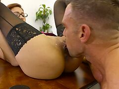 Banging his slutty boss on her desk