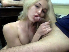 Sensuous blonde tranny exchanges blowjobs with a horny guy
