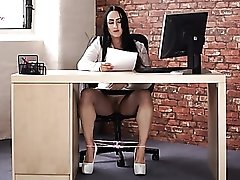 Secretary in high heels reads a dirty story out loud