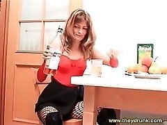 Slutty outfit on horny drunk girl in tasty video