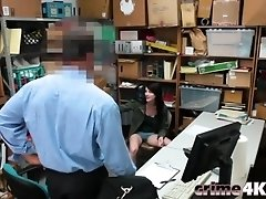 Brunette slim secretary munching fat cock boss in his office