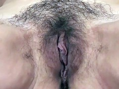 Hairy snatch and armpits milf rubs her twat
