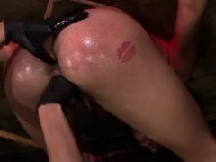Femdom strapon lesbians bang tied up sub