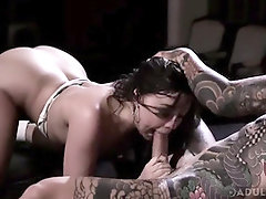 Joanna Angel, Whitney Wright and a wonderful, tatted man are having a three-way in the studio