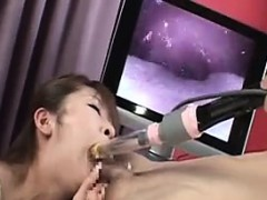 She sucks on a toy and then his dick where she gets a mouth