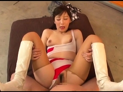 Sweet Asian babe with perky titties orgasms on a meat pole