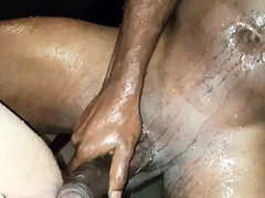 Squirting white pussy showering a black guy with huge cock