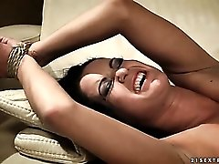 Cock and whip handle fucks her bald cunt