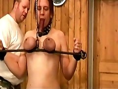 Whipped hard and mouth clamped by dungeon master BDSM movie