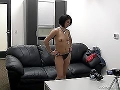 Pierced amateur girl blows the casting guy