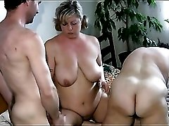Fat bitches fucked in their tight cunts in threesome