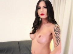 Bigtitted tattooed ladyboy tugging dick