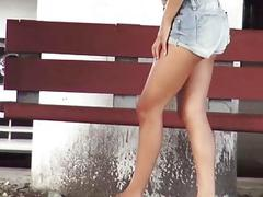 Fucking a hot teen stranded at bus stop